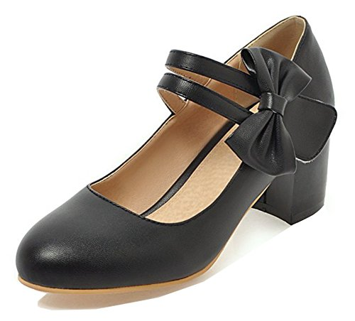 Aisun Womens Adorable Chunky Mid Heel Dressy Low Cut Hook and Loop Round Toe Ankle Strap Pumps Shoes With Bow Black LwP2pq