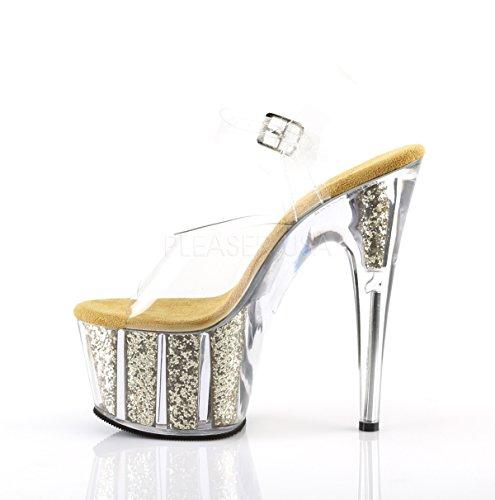 Pleaser Damen Adore-708g Sandalen Clr/Gold Glitter Inserts