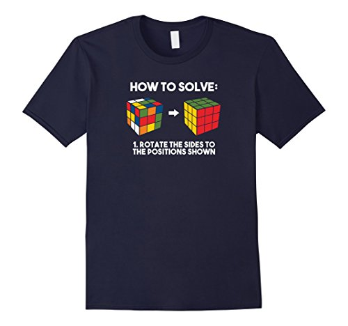 (Mens How To Solve - Funny Puzzle Cube Shirt - Speed Cubing Shirt Small Navy)