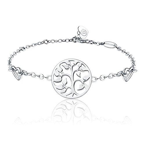 BlingGem Women's 18K White Gold-Plated 925 Sterling Silver Family Tree of Life Heart Bracelet