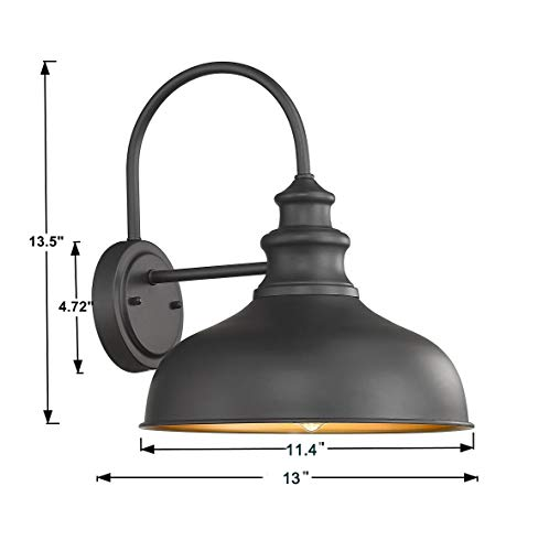 Bestshared Farmhouse Wall Mount Lights, Gooseneck Barn Light, 2 Pack Outdoor Wall Lantern for Porch in Black Finish with… - Black Finish with Copper Interior: the Black Finish fit any decor while the copper interior reflects light perfectly to form a extremely accent contrast Simple Industrial Design: The simple, traditional design of this light fixture looks great with any style of decor Bulb Requirement: Hard wired. Requires 1x E26 base bulb(Max.100W). BULB NOT INCLUDED. - patio, outdoor-lights, outdoor-decor - 41hlHlDsScL -