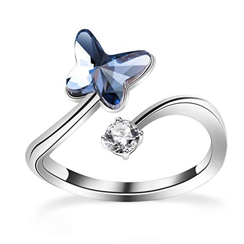 PLATO H Blue Butterfly Crystal Rings, Adjustable Blue Butterfly Rings, Bowknot Bow Tie Rings with Crystal from Swarovski, Girls Woman's Butterfly Statement Rings