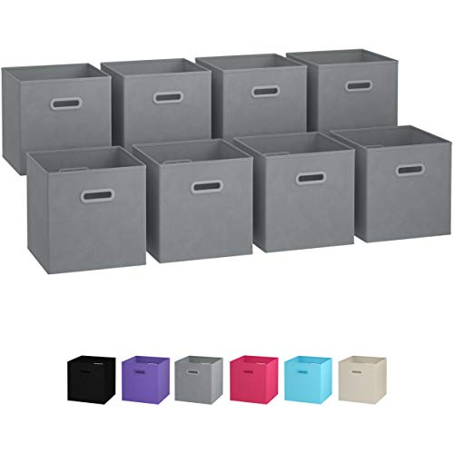 Royexe Storage Bins - Set of 8 - Storage Cubes | Foldable Fabric Cube Baskets Features Dual Plastic Handles. Cube Storage Bins. Closet Shelf Organizer | Collapsible Nursery Drawer Organizers (Grey) -