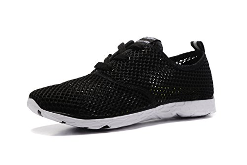 Kenswalk Women's Aqua Water Shoes Lightweight Slip On Walking Shoes(US 7.5, Black White 2017)