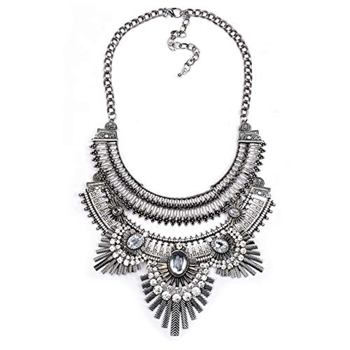 Lanue Vintage Gypsy Bohemian Ethnic Tribal Boho Statement Pendant Necklace,Owl style (Silver) ()