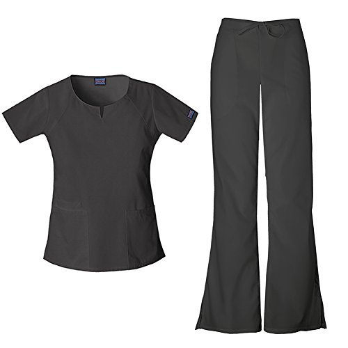 Cherokee Women's Workwear Round Neck Top 4824 & Drawstring Flare Leg Pant 4101 Scrub Set (Black - Large/Large Petite) ()