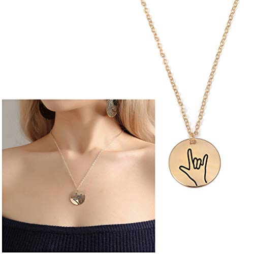 Originality Retro Sign Language Circle Necklace,Love Oath Blessing Ok Sign Language Geometric Circle Pendant Necklace for Women Girls Best Friend Gifts (I LOVE - You Language I Jewelry Love Sign