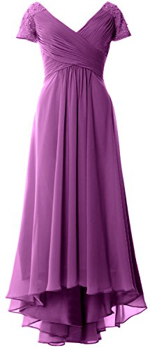 MACloth Cap Sleeves V Neck High Low Mother of Bride Dress Evening Formal Gown Sangria