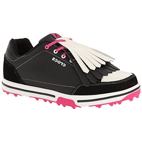 (Crocs Womens Women's 15370 Karlene Golf Shoe,Black/Fuchsia,4.5 M)