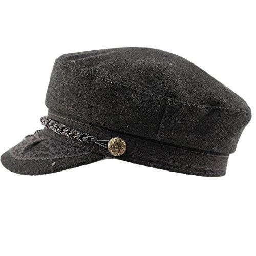 Epoch hats Mens Greek Fisherman Sailor Fiddler Winter Wool Driver Hat Flat Cap