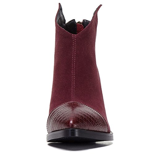Leather Booties Nine Handmade Pointy Burgundy Suede Chunky Ankle Toe Women's Heel Cap Comfort Seven q7CaCwE