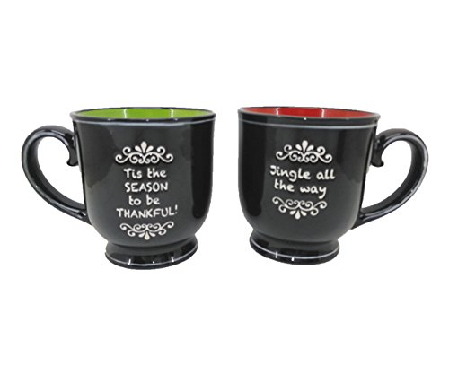 Blue Sky Ceramic 17oz Blackboard Mug 2Pc Set