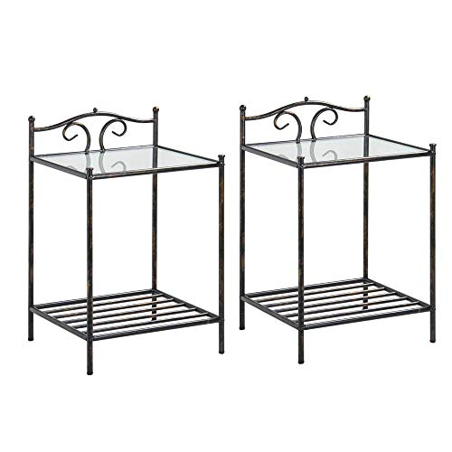 Yaheetech Beside Table Set of 2 Nightstand 2 Tier Metal Night Stand, Petro End Table with Tempered Glass and Antique Finish