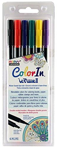 Tip America Marker Double (UCHIDA 1122-6J 6 Piece Colorin Le Plume II Coloring Book Pens, Primary)