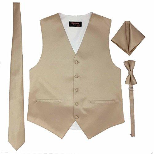 Spencer J's Men's Formal Tuxedo Suit Vest Tie Bowtie and Pocket Square 4 Peace Set Verity of Colors (XS (Coat Size 18-34), Champagne)