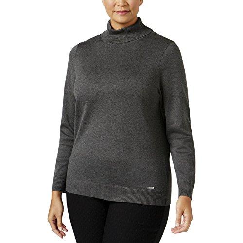 - Calvin Klein Womens Plus Knit Ribbed Trim Turtleneck Sweater Gray 0X