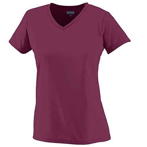 Augusta Sportswear Ladies Wicking V-Neck T-Shirt, Maroon/ wh