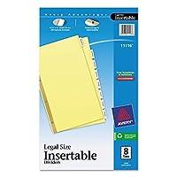 Avery 11116 divisores de tabulación estándar insertables, 8 pestañas, legal