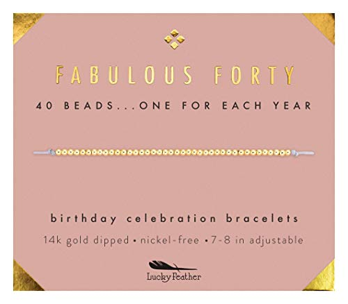 Lucky Feather 40th Birthday Gifts for Women, 14K Gold Dipped Beads Bracelet on Adjustable 7Ó- 8Ó Cord - Perfect 40th Birthday Gift Ideas for Her