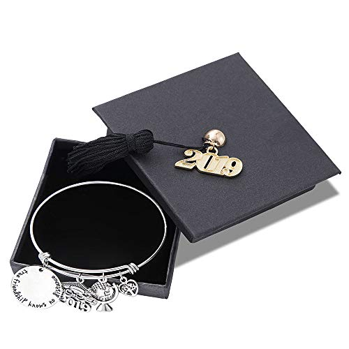 (M MOOHAM Inspirational Graduation Gifts Bracelet Women - Engraved Inspirational Expandable Bracelet with 2019 Charms Graduation Cap Perfect Graduation Gifts Birthday Gifts Friendship for Her)
