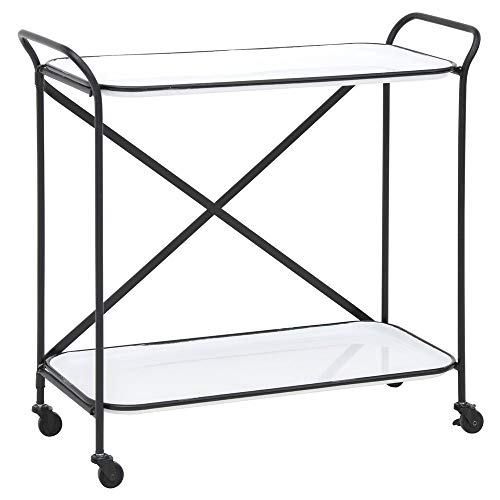 KALALOU CVY1091 METAL WHITE ENAMEL TWO TIERED SERVING CART