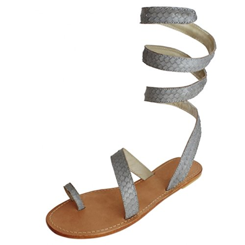 Aspiga Cannes Grey Leather Ankle Wrap Sandals