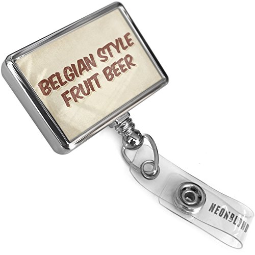 Retractable Plastic ID Badge Reel Belgian Style Fruit Beer, Vintage Style with Bulldog Belt Clip On Holder Neonblond