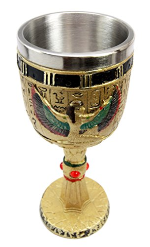 Egyptian Collectible Magical Goddess Of Wisdom Isis With Open Wings 6oz Resin Wine Goblet Chalice With Stainless Steel Liner 7.25''H by Atlantic (Image #2)