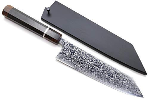 Yoshihiro Mirror Polished High Performance SLD Damascus Steel Kiritsuke Multipurpose Knife (8.25'' (210mm), Ebony Handle & Silver Ring Ironwood Bolster)