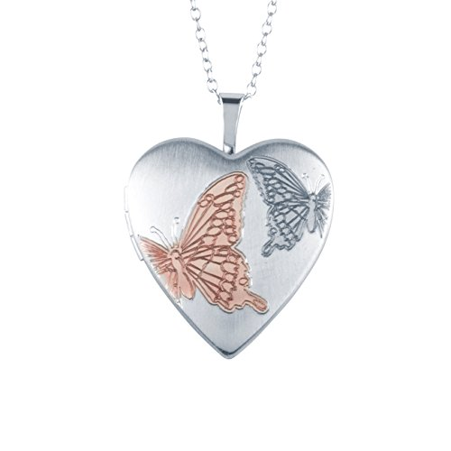 Butterfly Heart Shape Locket Pendant, Sterling Silver with Necklace Chain by Silver on the (Pendant Locket Necklace)