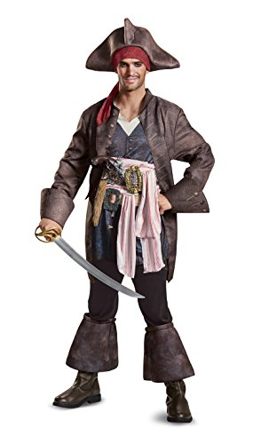 Disguise Men's Plus Size POTC5 Captain Jack Sparrow Deluxe Adult Costume, Brown, X-Large ()