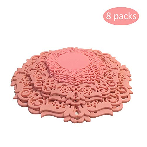Pan Trivet and Drink Coasters Set of 8 - Non Slip, Unique Flower Design Heat Resistant Silicone Coasters - 3 Different Size for Pans, Bowls & Cups, Meet All Your Needs (pink) ()
