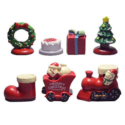 JUNKE Set of 7 Christmas Miniatures Christmas Ornaments DIY Miniature Game Toys Mini Resin Desktop Figures, Christmas Tree/Santa Claus/Snowman / Bear on a Motorcycle, Red Stocking Fillers (# B) from JUNKE