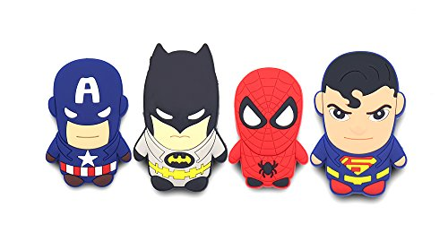 Finex - Set of 4 LARGE - Superheroes Refrigerator Magnets Fridge Magnet Set for Locker - Captain America Spiderman Superman Batman