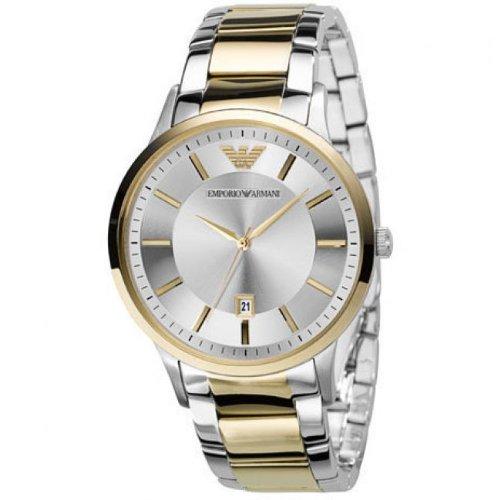 Emporio Armani AR2449 Reloj para Hombre Correa de Acero Inoxidable de Dos Tonos con Esfera de Plata: Amazon.es: Relojes