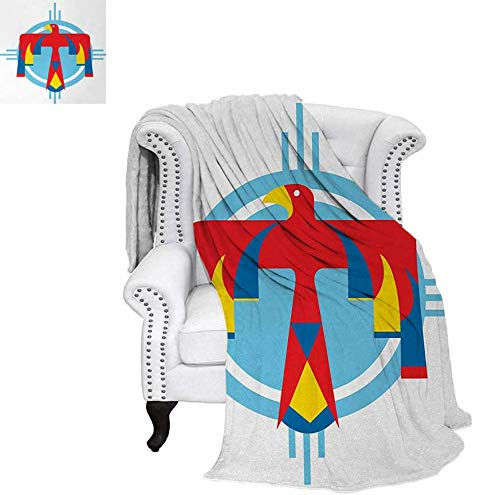 Weave Pattern Blanket Native American Mysterious Symbol of Thunderbird Abstract Artistic Tribal Icon Custom Design Cozy Flannel Blanket 70