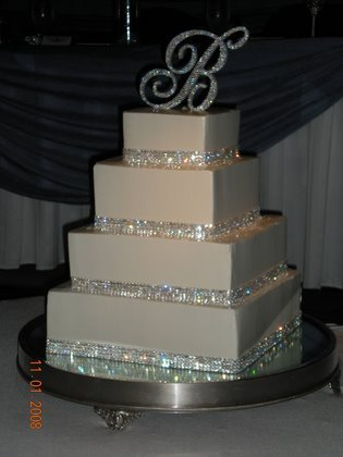 Amazon.com : 4 row Crystal Cake Ribbon Rhinestone Wedding Cake ...