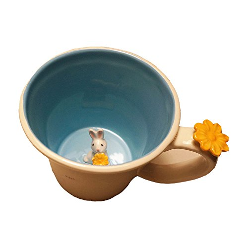 Ins Chic Lovely Cute 3D Funny Animal Cartoon Mini Rabbit Inside Creative Ceramic Coffee Tea Milk Water Ice Beer Cola Cup Mug Tumbler with Lid & Handle for Kids Girlfriend Home Office Decoration by ORGEN LIFE
