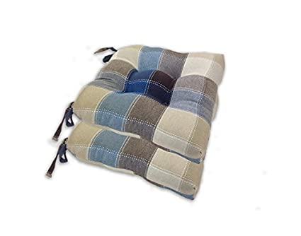 Essentials Harris Plaid Set Of Four (4) Chair Pad Seat Cushions  Comfortable, Indoor