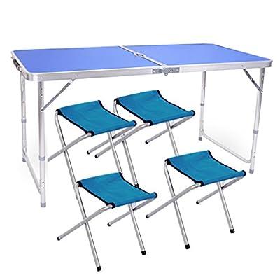 Edoking Folding Table with 4 Folding Stools Height Adjustable Aluminum Camping with Parasol Hole