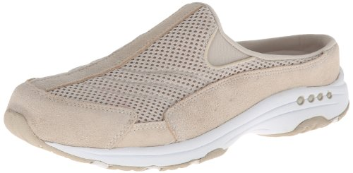Easy Spirit Womens Traveltime Mule Light Suede Naturale / Bianco