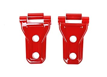 FMtoppeak 4Colors Car Accessories Front Engine Hood Hinge Cover Decoration Sticker ABS Compatible with Jeep Wrangler JL 2018 UP (Red)