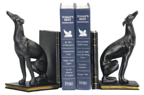 Sterling Home 4-83032 Pair of Bookends, Black Greyhounds, 9-Inch Tall