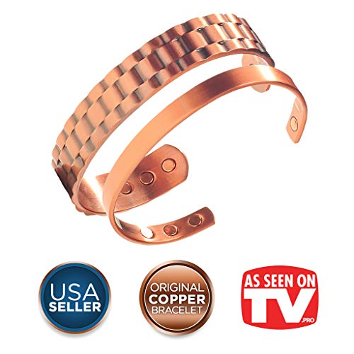 Earth Therapy Popular Couple Men & Women's Copper Magnetic Bracelets - Recovery and Injury Relief Duo Gift Pack