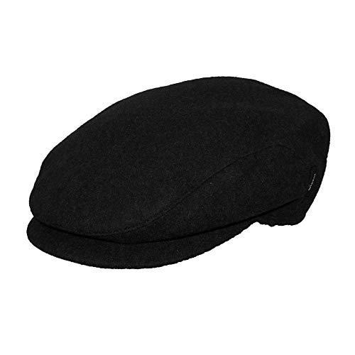 Wigens Men's Christor (Carl) Classic Wool Ivy Cap with Earflaps, 60, Black