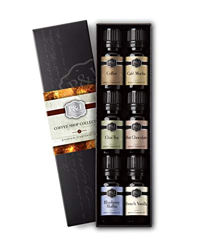 Coffee Shop Set of 6 Fragrance Oils - Premium Grade Scented Oil - 10ml - Coffee, Caf Mocha, Chai Tea, Hot Chocolate, Blueberry Muffin, French Vanilla