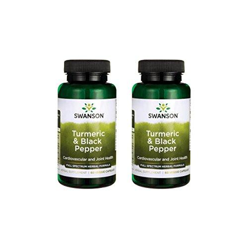 Swanson Turmeric and Black Pepper Organic Antioxidant Joint Cardiovascular Liver Detox Support Supplement Better Absorption Curcuma Longa 600 mg Piper nigrum 5 mg per Serving 60 Veg Caps (2 Pack)
