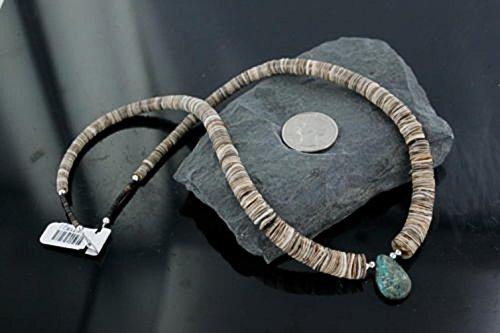 $300 Retail Tag Authentic Silver Navajo Graduated Spiny and Turquoise Native American - Turquoise Necklace Navajo