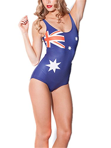 Allbebe Junior's American Flag Fitness One Piece Tank Swimsuit Bathing Suits