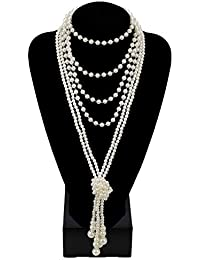 """Fashion Faux Pearls 1920s Pearls Necklace Gatsby Accessories Cluster 59"""" Long Necklace for Women"""